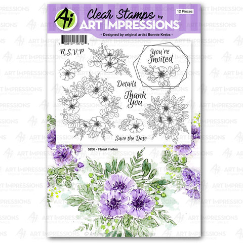 Art Impressions - FLORAL Invites - Stamp Set