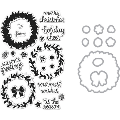 Hero Arts - COLOR LAYERING WREATH - Clear Stamps & Dies COMBO