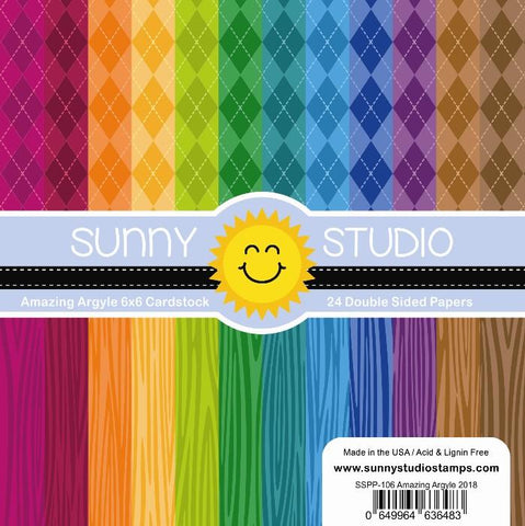Sunny Studio - AMAZING ARGYLE Paper - 24 Double Sided Sheets 6x6