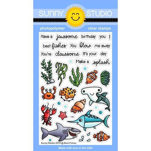 Sunny Studio - BEST FISHES - Stamp Set