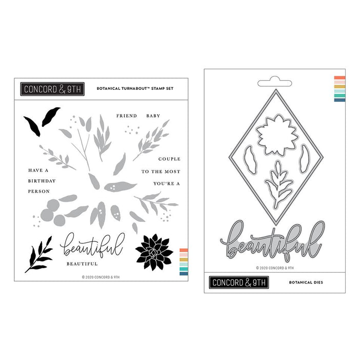 Concord & 9th - BOTANICAL Turnabout - Stamps and Dies BUNDLE Set