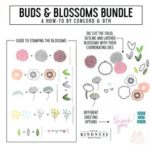 Concord & 9th - BUDS & BLOSSOMS - Stamps & Dies BUNDLE Set