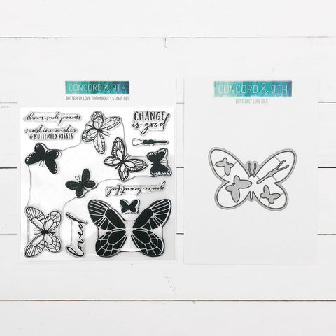 Concord & 9th - BUTTERFLY LOVE Turnabout - Stamps and Dies BUNDLE set