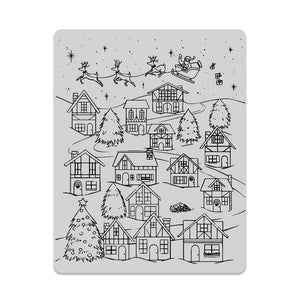 Hero Arts - WINTER VILLAGE PEEK-A-BOO Background - Cling Rubber Stamp