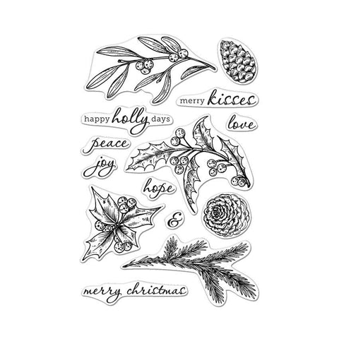 Hero Arts - HAPPY HOLLY DAYS - Clear Stamps - Hallmark Scrapbook