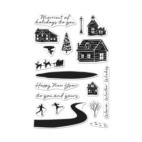 Hero Arts - SNOWY TOWN - Clear Stamps Set
