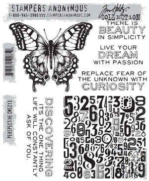 Tim Holtz Stampers Anonymous Cling Mount Rubber Stamp Set - PERSPECTIVE