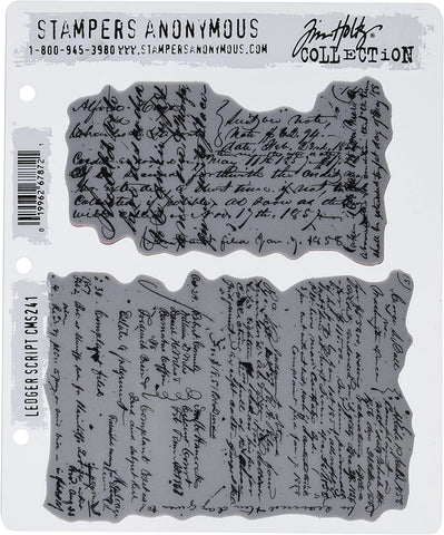 Tim Holtz Stampers Anonymous Cling Mount Rubber Stamp Set - LEDGER SCRIPT