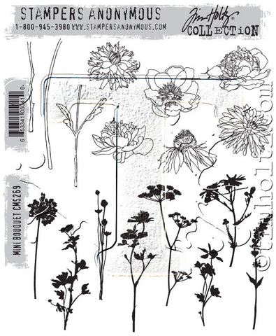 Tim Holtz Stampers Anonymous - MINI BOUQUET - Cling Mount Rubber Stamp set - Hallmark Scrapbook