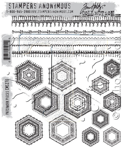 Tim Holtz Stampers Anonymous - PATCHWORK PIECES - Cling Mount Rubber Stamp set - Hallmark Scrapbook