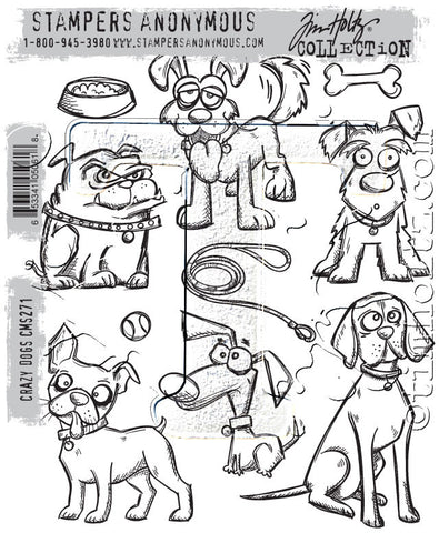 Tim Holtz Stampers Anonymous - CRAZY DOGS - Cling Mount Rubber Stamp set - 10 PC - Hallmark Scrapbook - 1