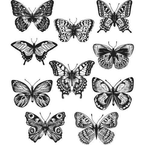 Tim Holtz Stampers Anonymous Cling Mount Rubber Stamp Set - FLUTTER Butterflies - 10 Stamps