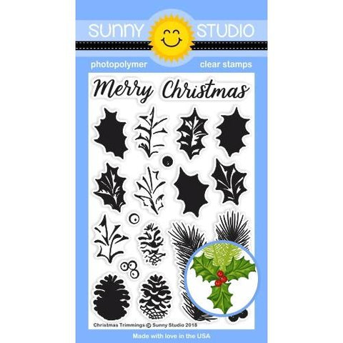 Sunny Studio - CHRISTMAS TRIMMINGS - Stamp Set