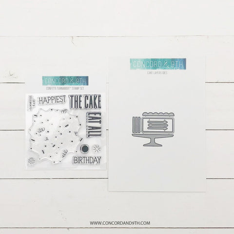 Concord & 9th - CONFETTI CAKE Stamps & CAKE LAYERS Dies BUNDLE Set