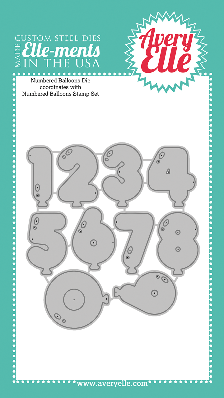 avery elle numbered balloons elle ments die set 10 pc hallmark