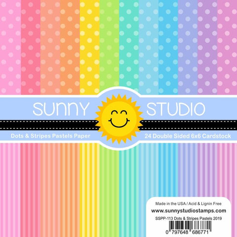 Sunny Studio - DOTS & STRIPES PASTELS Paper - 24 Double Sided Sheets 6x6