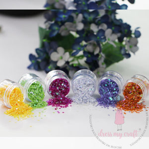 Dress My Crafts - TINY STAR Shaker Elements Set - 6 colors (8g each)