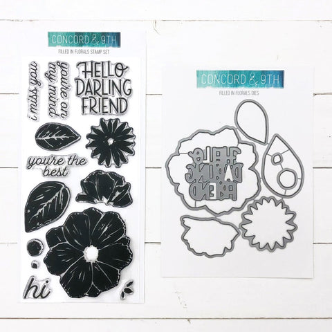 Concord & 9th - FILLED IN FLORALS - Stamps and Dies BUNDLE set