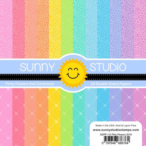 Sunny Studio - FLIRTY FLOWERS Paper - 24 Double Sided Sheets 6x6