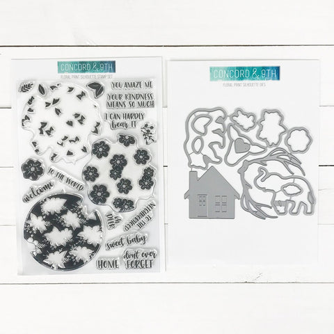 Concord & 9th - FLORAL PRINT SILHOUETTE Stamps  and Dies BUNDLE set
