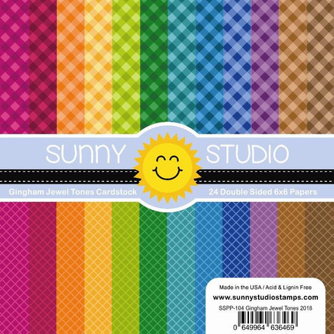 Sunny Studio - GINGHAM JEWEL TONES PAPER - 24 Double Sided Sheets 6x6
