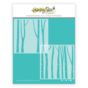 Honey Bee - LAYERING BIRCH TREES - Background Stencil