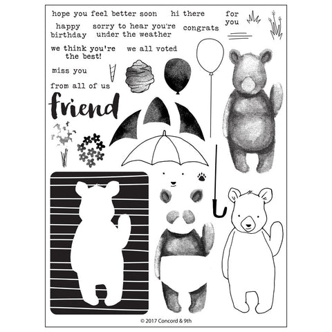 Concord & 9th - HI THERE BEAR Clear Stamps Set