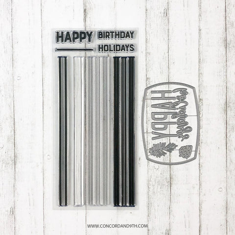 Concord & 9th - HAPPY PLAIDS Stamps  and HAPPY HOLIDAYS LABEL Dies BUNDLE