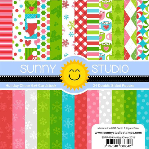 Sunny Studio - HOLIDAY CHEER - 24 Double Sided Sheets 6x6 Paper