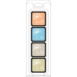 Hero Arts Shadow Ink JUST BEACHY 4 cube set - Soft Cantaloupe, Pool, Wet Cement and Soft Olive - Hallmark Scrapbook