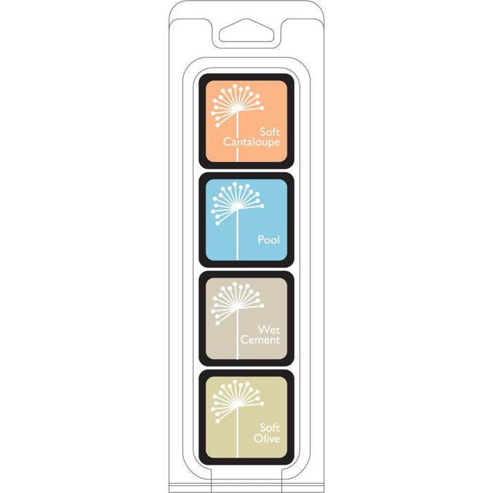 Hero Arts Shadow Ink JUST BEACHY 4 cube set - Soft Cantaloupe, Pool, Wet Cement and Soft Olive