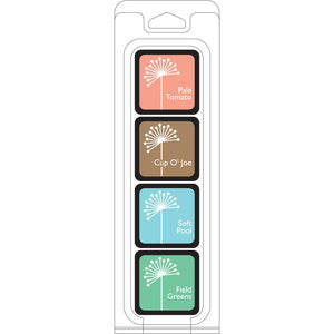 Hero Arts Shadow Ink QUIET MORNING 4 cube set - Pale Tomato, Cup O' Joe, Soft Pool and Field Greens - Hallmark Scrapbook