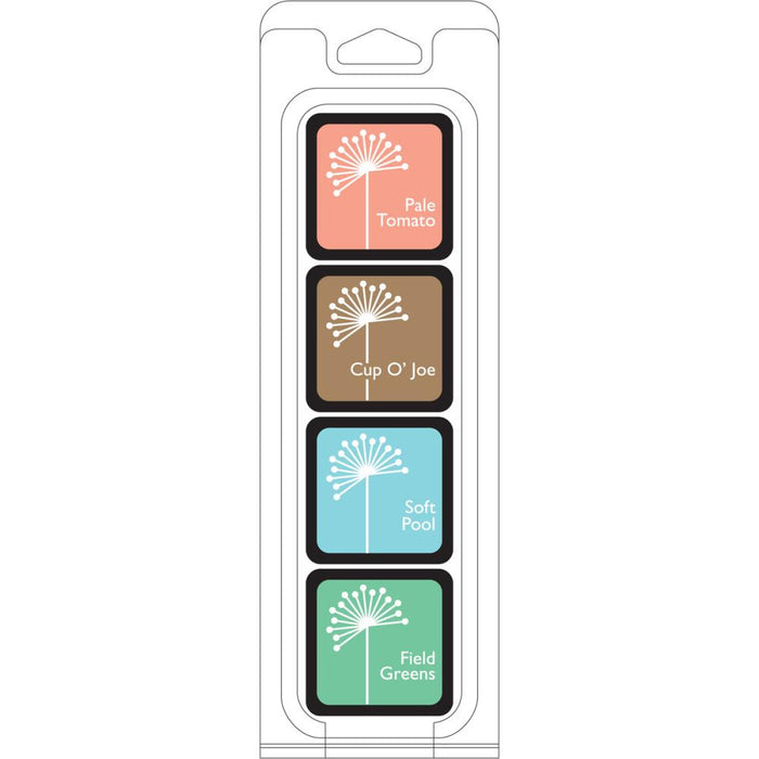 Hero Arts Shadow Ink QUIET MORNING 4 cube set - Pale Tomato, Cup O' Joe, Soft Pool and Field Greens