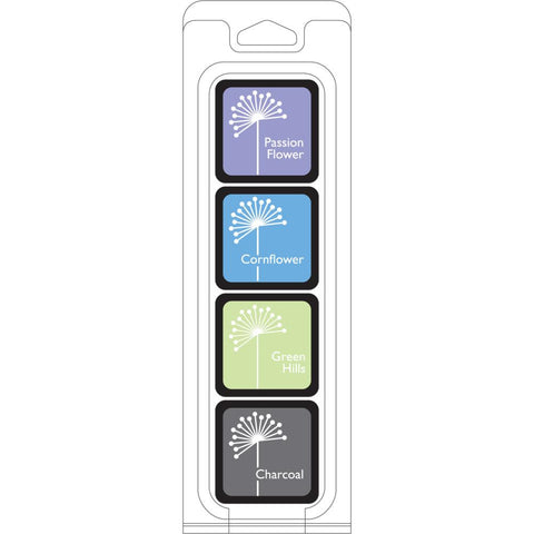 Hero Arts Shadow Ink FIELD NOTE 4 cube set - Passion Flower, Cornflower, Green Hills and Charcoal - Hallmark Scrapbook