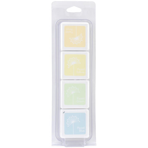 Hero Arts Shadow Ink WHITE PASTELS cube set - Pastel Peach, Pastel Yellow, Pastel Green and Pastel Blue - Hallmark Scrapbook