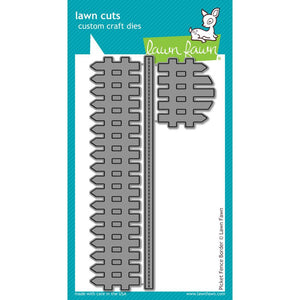 Lawn Fawn - PICKET FENCE BORDER - Lawn Cuts DIES 3pc - Hallmark Scrapbook - 1