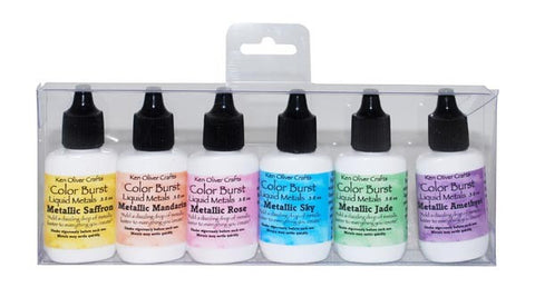 Ken Oliver Crafts - Color Burst Liquid Metals - PRECIOUS ALLOYS - 6 Pack Set - Hallmark Scrapbook - 1