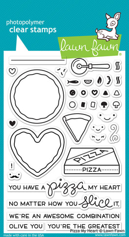 Lawn Fawn - Pizza My Heart - CLEAR STAMPS 36pc - Hallmark Scrapbook - 1