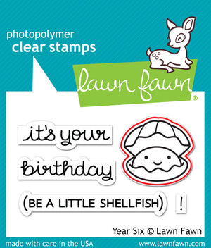 Lawn Fawn - YEAR SIX (Shellfish/Clam) - LAWN CUTS Dies 1 pc - Hallmark Scrapbook - 2