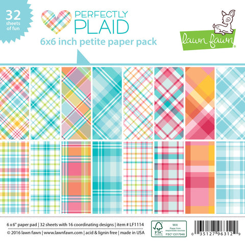 Lawn Fawn - Petite Paper Pad 6x6 - pint-sized patterns: PERFECTLY PLAID (36 sheets) - Hallmark Scrapbook - 1