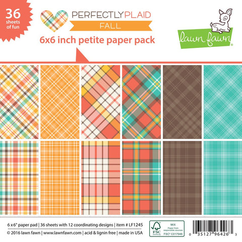 Lawn Fawn - Petite Paper Pad 6x6 - pint-sized patterns: Perfectly Plaid FALL (36 sheets) - Hallmark Scrapbook - 1