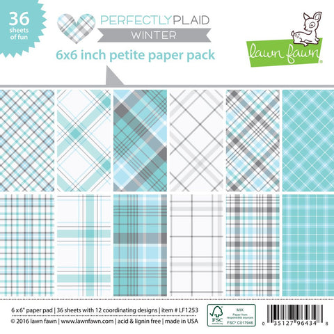 Lawn Fawn - Petite Paper Pad 6x6 - pint-sized patterns: Perfectly Plaid WINTER (36 sheets) - Hallmark Scrapbook - 1