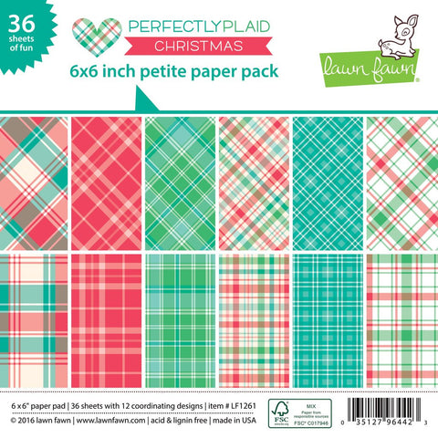 Lawn Fawn - Petite Paper Pad 6x6 - pint-sized patterns: Perfectly Plaid CHRISTMAS (36 sheets) - Hallmark Scrapbook - 1