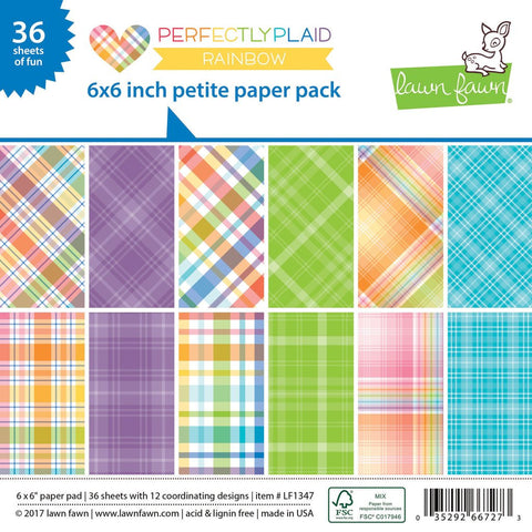 Lawn Fawn - Petite Paper Pad 6x6 - pint-sized patterns: Perfectly Plaid RAINBOW (36 sheets)