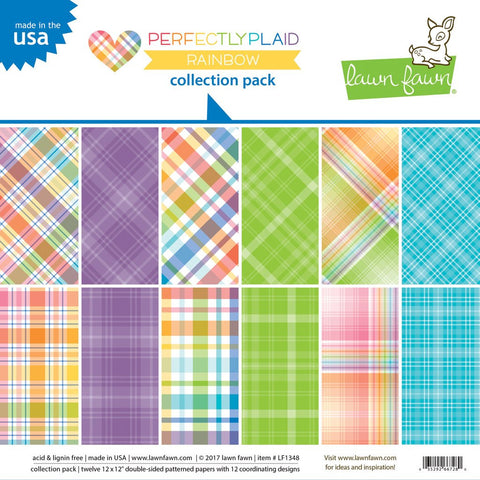 Lawn Fawn - PERFECTLY PLAID RAINBOW, 12x12 Collection Pack