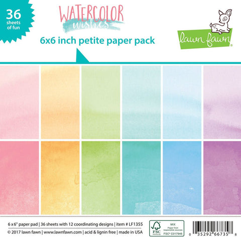 Lawn Fawn - WATERCOLOR WISHES Petite Paper Pack 6x6 - 36 sheets
