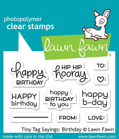 Lawn Fawn - Tiny Tag Sayings BIRTHDAY - Clear Stamp Set