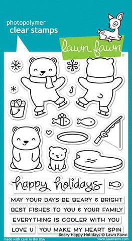 Lawn Fawn - BEARY HAPPY HOLIDAYS - Clear Stamps Set