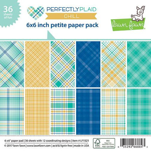 Lawn Fawn - PERFECTLY PLAID CHILL Petite Paper Pack 6x6 - 36 sheets - Scratch N Dent