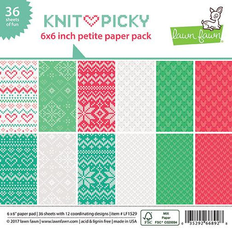 Lawn Fawn - KNIT PICKY Petite Paper Pack 6x6 - 36 sheets - Scratch N Dent